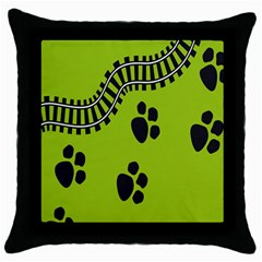 Green Prints Next To Track Throw Pillow Case (black)