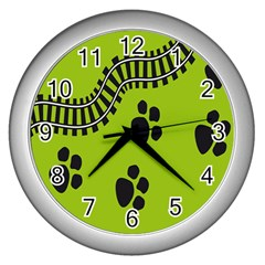 Green Prints Next To Track Wall Clocks (Silver)