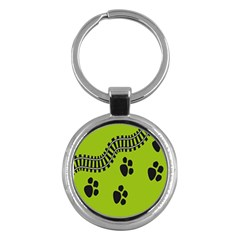 Green Prints Next To Track Key Chains (Round)