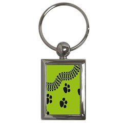 Green Prints Next To Track Key Chains (Rectangle)