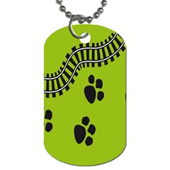 Green Prints Next To Track Dog Tag (one Side)