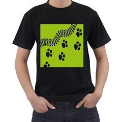 Green Prints Next To Track Men s T-Shirt (Black) (Two Sided)