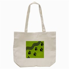 Green Prints Next To Track Tote Bag (Cream)