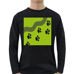 Green Prints Next To Track Long Sleeve Dark T-Shirts