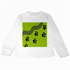 Green Prints Next To Track Kids Long Sleeve T-Shirts