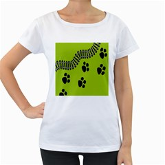Green Prints Next To Track Women s Loose-Fit T-Shirt (White)