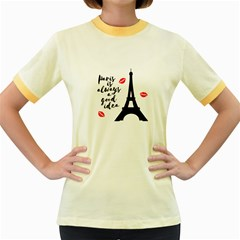 Paris Women s Fitted Ringer T-Shirts