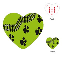 Green Prints Next To Track Playing Cards (heart)