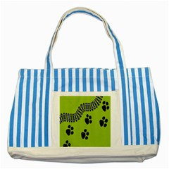 Green Prints Next To Track Striped Blue Tote Bag