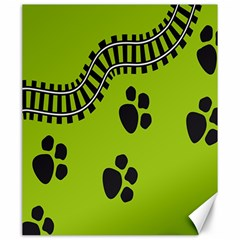 Green Prints Next To Track Canvas 20  x 24
