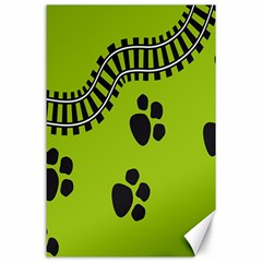 Green Prints Next To Track Canvas 24  x 36