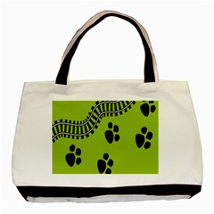 Green Prints Next To Track Basic Tote Bag (two Sides)