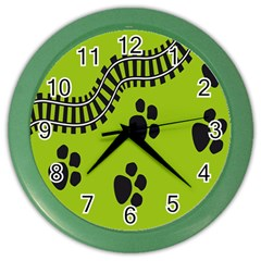 Green Prints Next To Track Color Wall Clocks