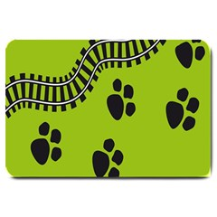 Green Prints Next To Track Large Doormat