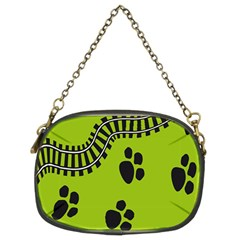 Green Prints Next To Track Chain Purses (Two Sides)