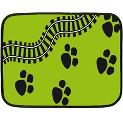 Green Prints Next To Track Double Sided Fleece Blanket (Mini)