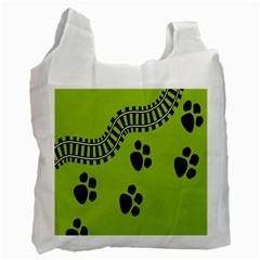 Green Prints Next To Track Recycle Bag (One Side)