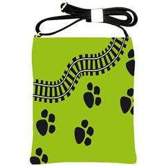 Green Prints Next To Track Shoulder Sling Bags