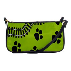 Green Prints Next To Track Shoulder Clutch Bags