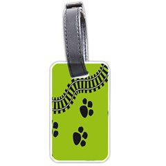 Green Prints Next To Track Luggage Tags (two Sides)