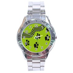 Green Prints Next To Track Stainless Steel Analogue Watch