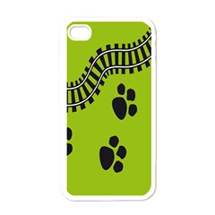 Green Prints Next To Track Apple iPhone 4 Case (White)