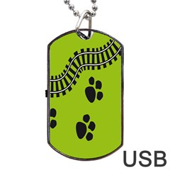 Green Prints Next To Track Dog Tag USB Flash (One Side)