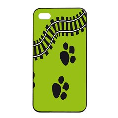 Green Prints Next To Track Apple iPhone 4/4s Seamless Case (Black)