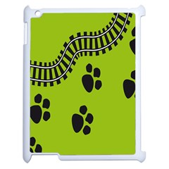 Green Prints Next To Track Apple iPad 2 Case (White)