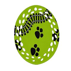 Green Prints Next To Track Oval Filigree Ornament (two Sides)