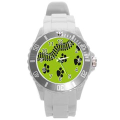 Green Prints Next To Track Round Plastic Sport Watch (l)