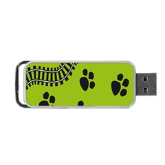 Green Prints Next To Track Portable USB Flash (Two Sides)