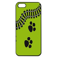 Green Prints Next To Track Apple Iphone 5 Seamless Case (black)