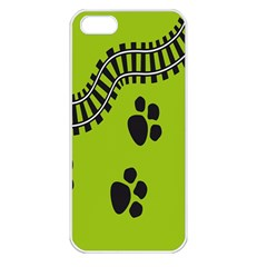 Green Prints Next To Track Apple iPhone 5 Seamless Case (White)