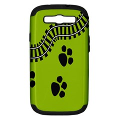 Green Prints Next To Track Samsung Galaxy S III Hardshell Case (PC+Silicone)