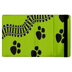 Green Prints Next To Track Apple iPad 3/4 Flip Case