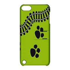 Green Prints Next To Track Apple Ipod Touch 5 Hardshell Case With Stand