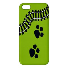 Green Prints Next To Track Apple iPhone 5 Premium Hardshell Case