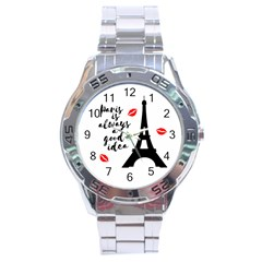 Paris Stainless Steel Analogue Watch