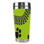 Green Prints Next To Track Stainless Steel Travel Tumblers Left