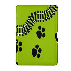 Green Prints Next To Track Samsung Galaxy Tab 2 (10.1 ) P5100 Hardshell Case
