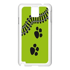 Green Prints Next To Track Samsung Galaxy Note 3 N9005 Case (White)