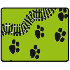 Green Prints Next To Track Double Sided Fleece Blanket (Medium)