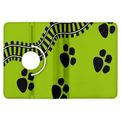Green Prints Next To Track Kindle Fire Hdx Flip 360 Case