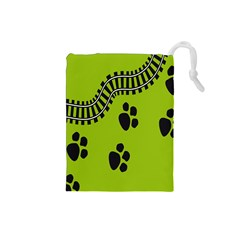 Green Prints Next To Track Drawstring Pouches (Small)