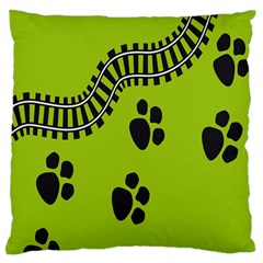 Green Prints Next To Track Standard Flano Cushion Case (two Sides)