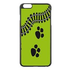 Green Prints Next To Track Apple Iphone 6 Plus/6s Plus Black Enamel Case