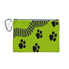 Green Prints Next To Track Canvas Cosmetic Bag (m)