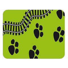 Green Prints Next To Track Double Sided Flano Blanket (large)