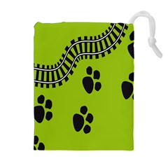 Green Prints Next To Track Drawstring Pouches (extra Large)